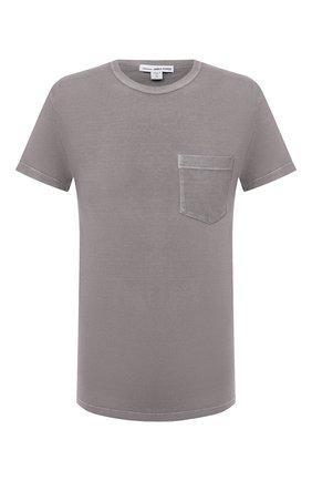Мужская хлопковая футболка JAMES PERSE серого цвета, арт. MLJ3282 | Фото 1 (Принт: Без принта; Длина (для топов): Стандартные; Стили: Кэжуэл; Рукава: Короткие; Материал внешний: Хлопок)