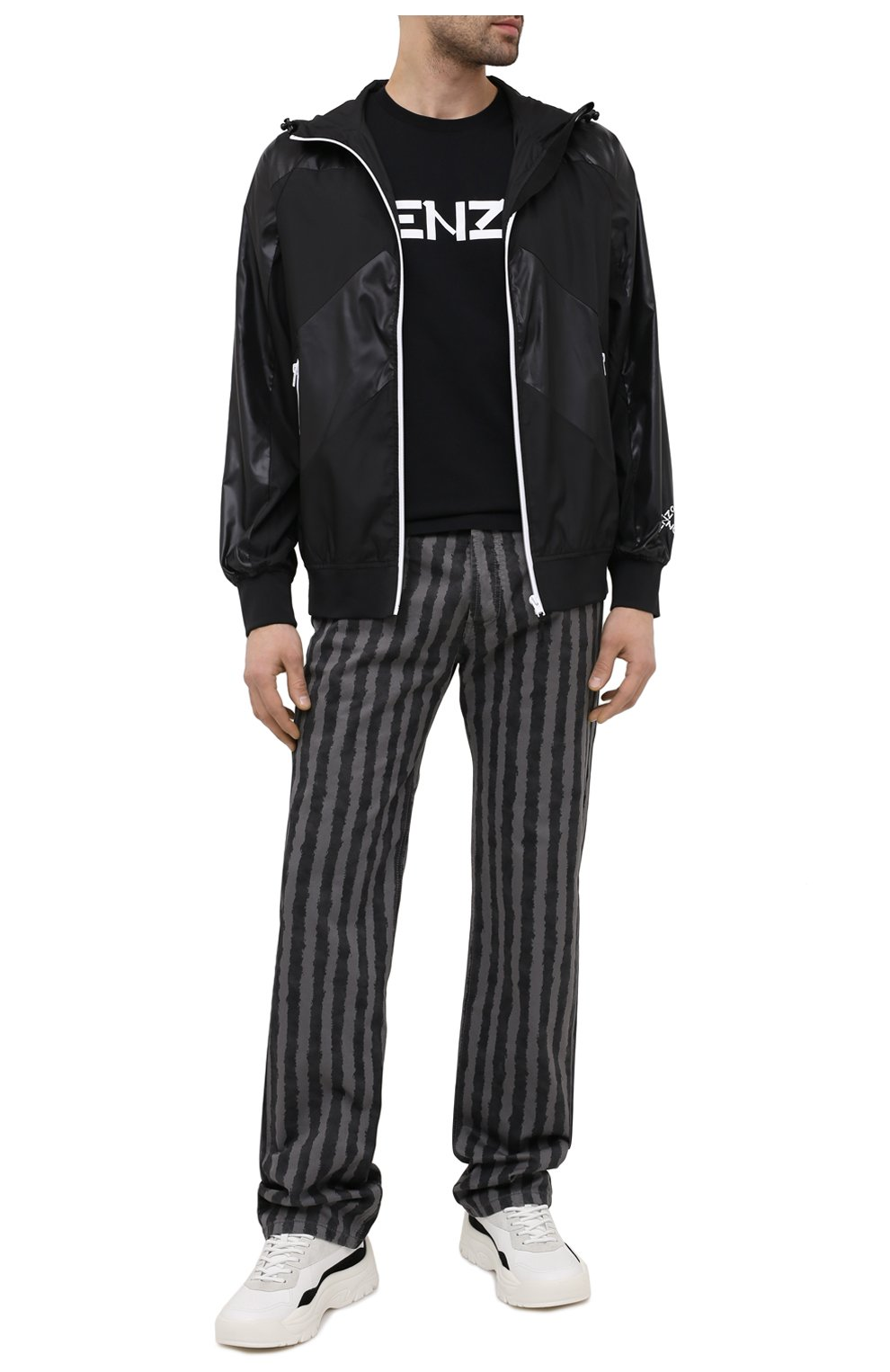 Мужская хлопковая футболка KENZO черного цвета, арт. FA65TS0004SJ   Фото 2 (Рукава: Короткие; Длина (для топов): Стандартные; Стили: Гранж; Принт: С принтом; Материал внешний: Хлопок)
