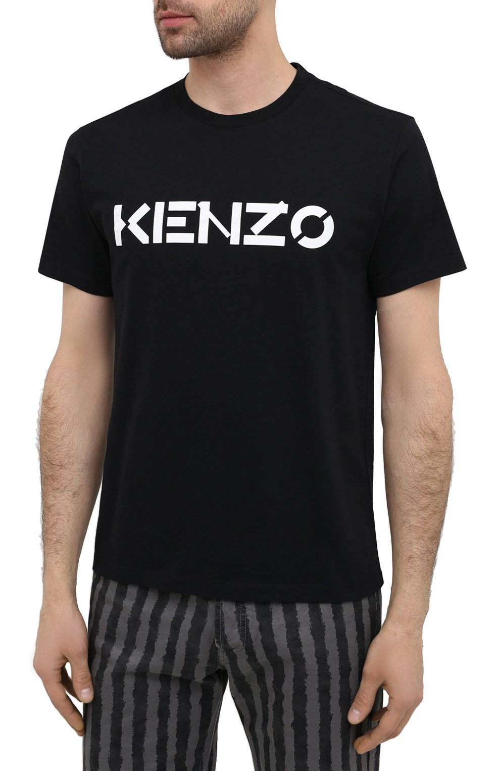 Мужская хлопковая футболка KENZO черного цвета, арт. FA65TS0004SJ   Фото 3 (Рукава: Короткие; Длина (для топов): Стандартные; Стили: Гранж; Принт: С принтом; Материал внешний: Хлопок)