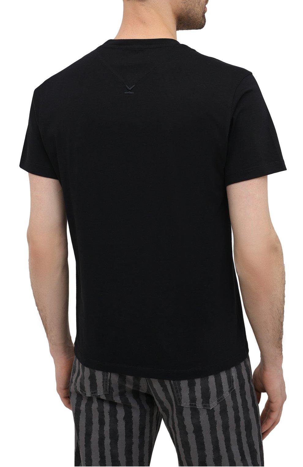 Мужская хлопковая футболка KENZO черного цвета, арт. FA65TS0004SJ   Фото 4 (Рукава: Короткие; Длина (для топов): Стандартные; Стили: Гранж; Принт: С принтом; Материал внешний: Хлопок)