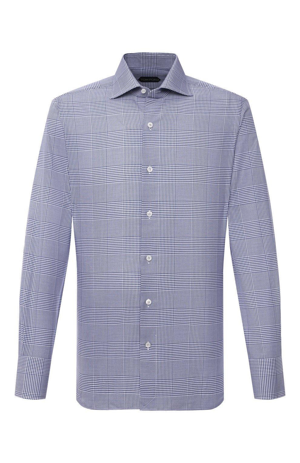 Мужская хлопковая сорочка TOM FORD синего цвета, арт. 9FT172/94S3AX   Фото 1