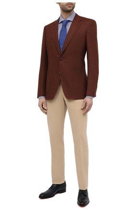 Мужская хлопковая сорочка TOM FORD синего цвета, арт. 9FT172/94S3AX | Фото 2 (Манжеты: На пуговицах; Рубашки М: Slim Fit; Стили: Классический; Длина (для топов): Стандартные; Воротник: Кент; Случай: Формальный; Материал внешний: Хлопок; Рукава: Длинные; Принт: Клетка)