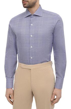 Мужская хлопковая сорочка TOM FORD синего цвета, арт. 9FT172/94S3AX   Фото 3