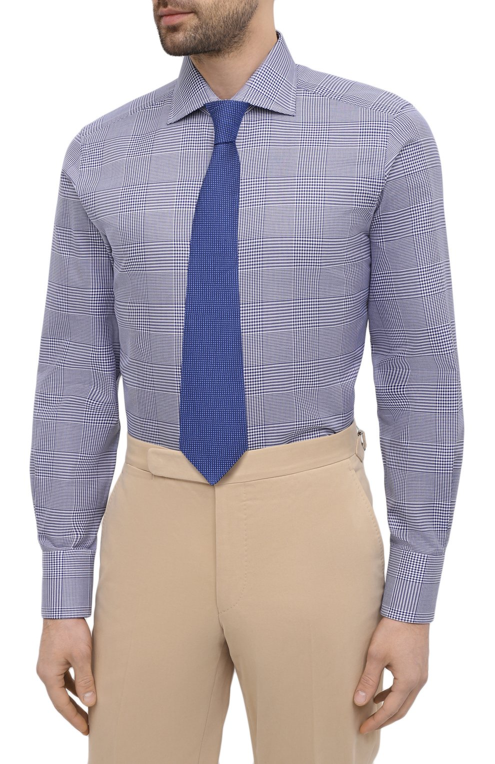 Мужская хлопковая сорочка TOM FORD синего цвета, арт. 9FT172/94S3AX   Фото 4