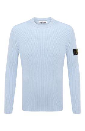Мужской хлопковый свитер STONE ISLAND голубого цвета, арт. 7415552D8   Фото 1