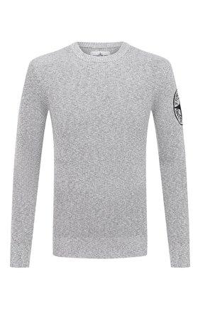Мужской хлопковый свитер STONE ISLAND серого цвета, арт. 7415507B1   Фото 1