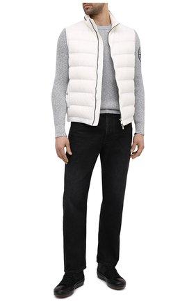 Мужской хлопковый свитер STONE ISLAND серого цвета, арт. 7415507B1   Фото 2
