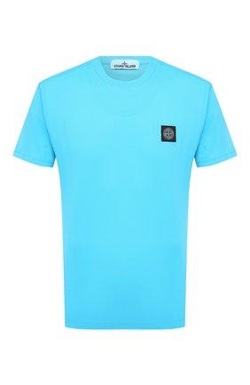 Мужская хлопковая футболка STONE ISLAND бирюзового цвета, арт. 741524113 | Фото 1