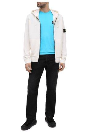 Мужская хлопковая футболка STONE ISLAND бирюзового цвета, арт. 741524113 | Фото 2
