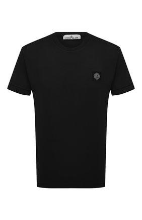 Мужская хлопковая футболка STONE ISLAND черного цвета, арт. 741524113 | Фото 1