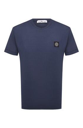 Мужская хлопковая футболка STONE ISLAND темно-синего цвета, арт. 741524113 | Фото 1