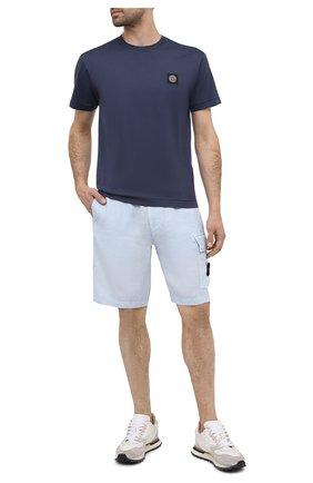 Мужская хлопковая футболка STONE ISLAND темно-синего цвета, арт. 741524113 | Фото 2