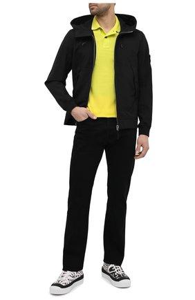 Мужское хлопковое поло STONE ISLAND желтого цвета, арт. 101522S18 | Фото 2 (Материал внешний: Хлопок; Длина (для топов): Стандартные; Стили: Кэжуэл; Рукава: Короткие; Застежка: Пуговицы)