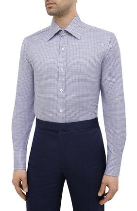 Мужская хлопковая сорочка TOM FORD синего цвета, арт. 9FT660/94C1JE   Фото 3