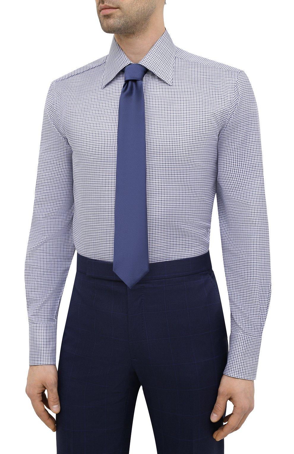 Мужская хлопковая сорочка TOM FORD синего цвета, арт. 9FT660/94C1JE   Фото 4