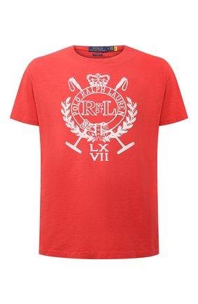 Мужская хлопковая футболка POLO RALPH LAUREN красного цвета, арт. 710823546 | Фото 1 (Рукава: Короткие; Стили: Кэжуэл; Принт: С принтом; Материал внешний: Хлопок; Длина (для топов): Стандартные)