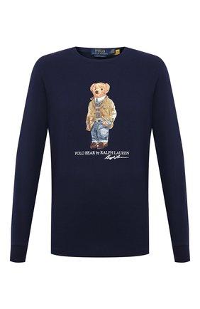 Мужская хлопковый лонгслив POLO RALPH LAUREN темно-синего цвета, арт. 710828276 | Фото 1