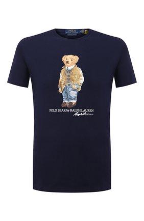 Мужская хлопковая футболка POLO RALPH LAUREN темно-синего цвета, арт. 710835761 | Фото 1