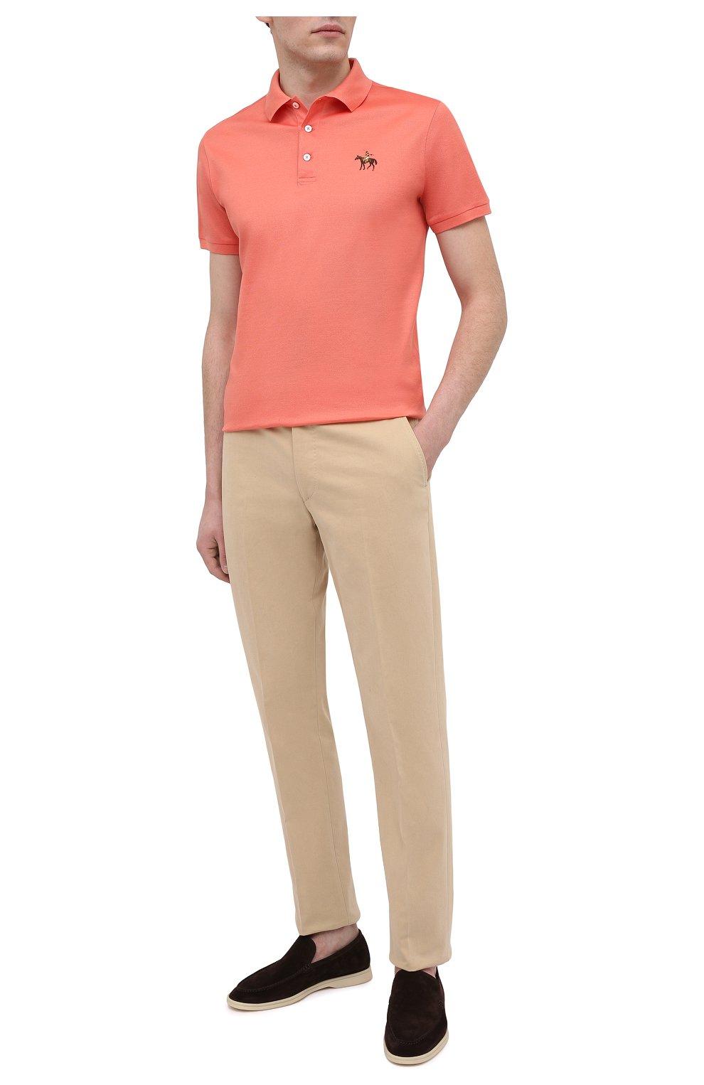 Мужское хлопковое поло RALPH LAUREN оранжевого цвета, арт. 790508036 | Фото 2