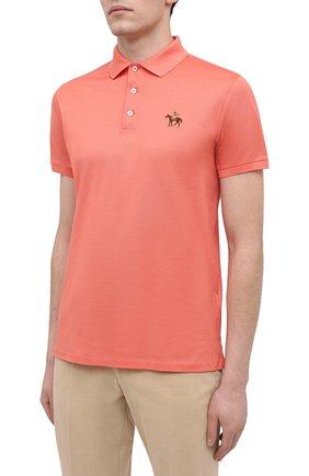 Мужское хлопковое поло RALPH LAUREN оранжевого цвета, арт. 790508036 | Фото 3