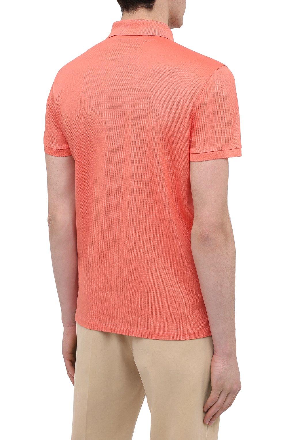 Мужское хлопковое поло RALPH LAUREN оранжевого цвета, арт. 790508036 | Фото 4