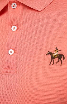 Мужское хлопковое поло RALPH LAUREN оранжевого цвета, арт. 790508036 | Фото 5