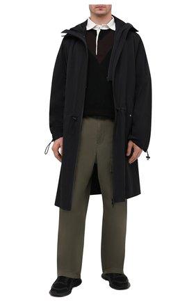 Мужское хлопковое поло BOTTEGA VENETA черного цвета, арт. 648838/V0C30 | Фото 2 (Длина (для топов): Стандартные; Застежка: Пуговицы; Кросс-КТ: Трикотаж; Стили: Минимализм; Рукава: Короткие; Материал внешний: Хлопок)
