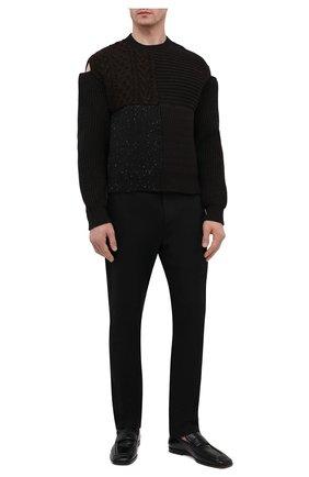 Мужской шерстяной свитер BOTTEGA VENETA темно-коричневого цвета, арт. 647532/V0AT0 | Фото 2 (Принт: Без принта; Стили: Минимализм; Длина (для топов): Стандартные; Рукава: Длинные; Материал внешний: Шерсть; Мужское Кросс-КТ: Свитер-одежда)