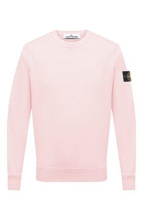 Мужской хлопковый свитшот STONE ISLAND светло-розового цвета, арт. 741563051   Фото 1