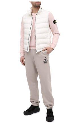 Мужской хлопковый свитшот STONE ISLAND светло-розового цвета, арт. 741563051   Фото 2