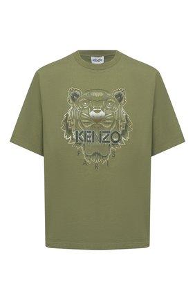 Мужская хлопковая футболка KENZO хаки цвета, арт. FB55TS0684YH | Фото 1