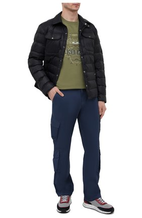 Мужская хлопковая футболка KENZO хаки цвета, арт. FB55TS0684YH | Фото 2