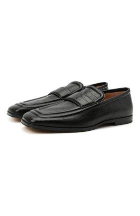 Мужские кожаные лоферы BOTTEGA VENETA черного цвета, арт. 651350/V0G80 | Фото 1 (Мужское Кросс-КТ: Лоферы-обувь; Стили: Кэжуэл; Материал внутренний: Натуральная кожа)