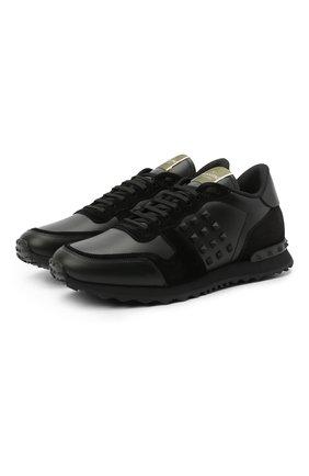 Кожаные кроссовки Rockstud Valentino Garavani | Фото №1