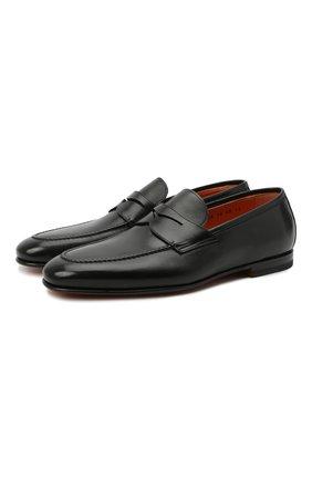 Мужские кожаные пенни-лоферы SANTONI черного цвета, арт. MCNC15609SA3ESCSN01 | Фото 1
