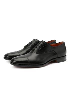 Мужские кожаные оксфорды SANTONI черного цвета, арт. MCBN17158BB3XVVDN01 | Фото 1