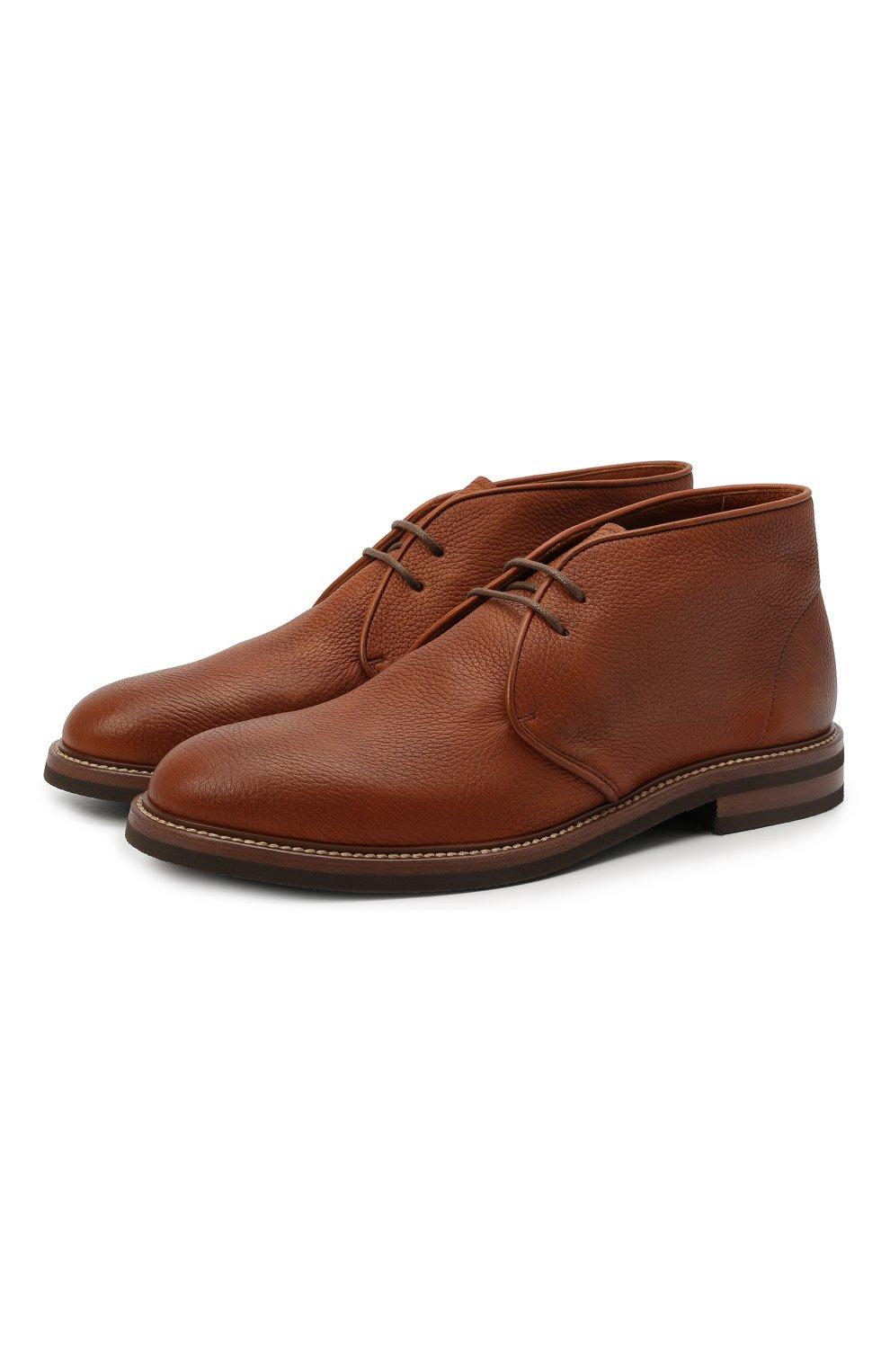 Мужские кожаные ботинки BRUNELLO CUCINELLI светло-коричневого цвета, арт. MZUCSLK192   Фото 1