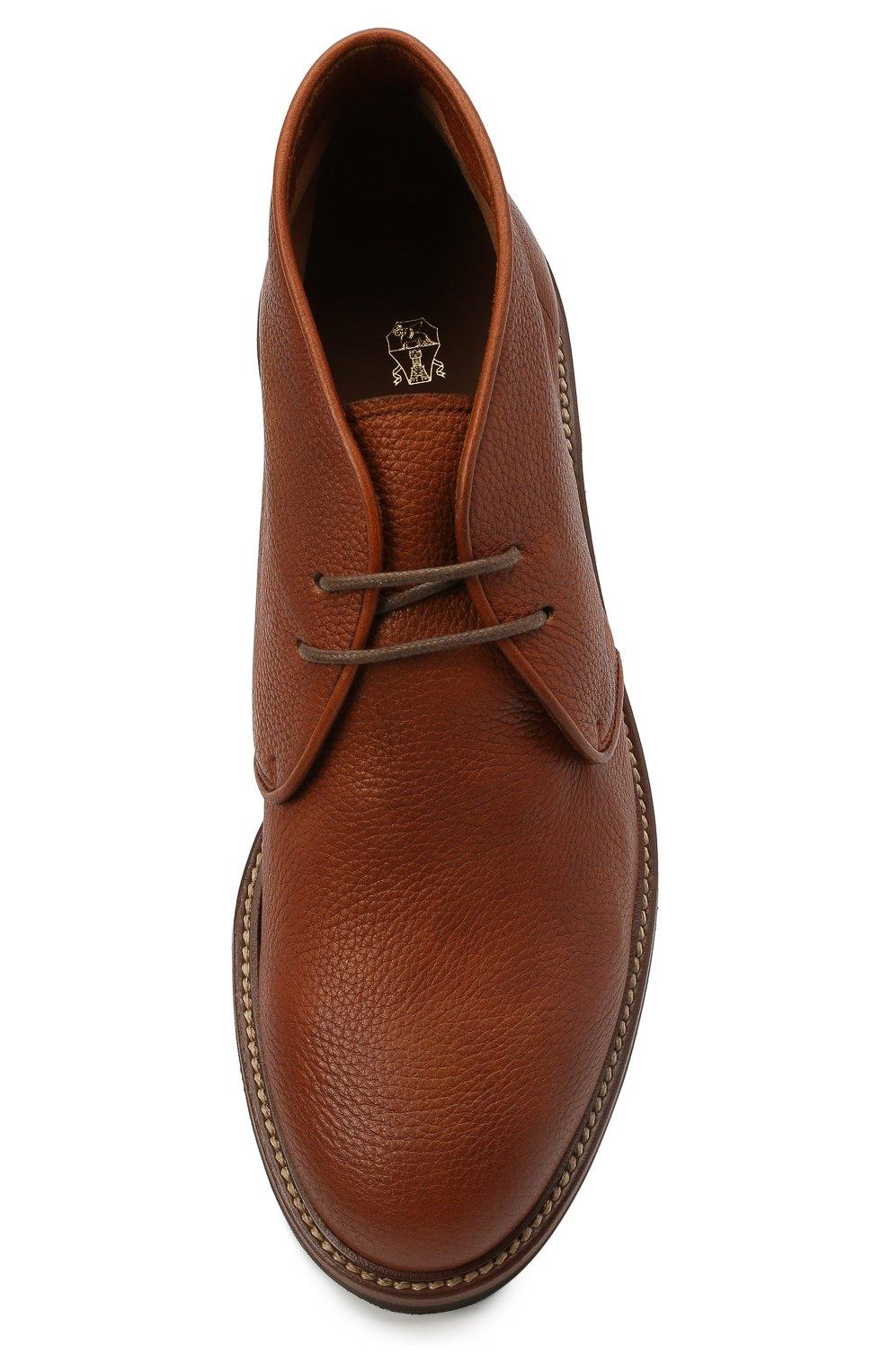 Мужские кожаные ботинки BRUNELLO CUCINELLI светло-коричневого цвета, арт. MZUCSLK192   Фото 5