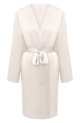 Женский шелковый халат LUNA DI SETA белого цвета, арт. VLST08009 | Фото 1