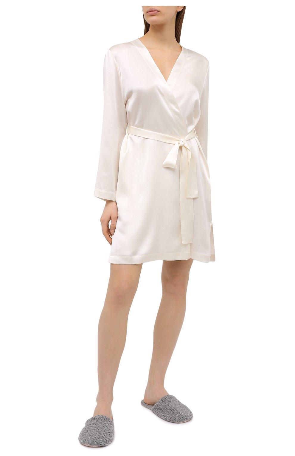 Женский шелковый халат LUNA DI SETA светло-бежевого цвета, арт. VLST08009   Фото 2 (Материал внешний: Шелк; Рукава: Длинные; Длина Ж (юбки, платья, шорты): Мини)