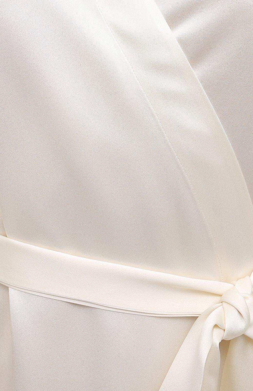 Женский шелковый халат LUNA DI SETA светло-бежевого цвета, арт. VLST08009   Фото 5 (Материал внешний: Шелк; Рукава: Длинные; Длина Ж (юбки, платья, шорты): Мини)