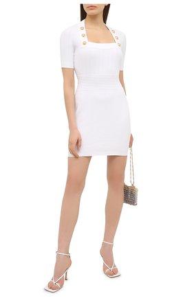 Женское платье из вискозы BALMAIN белого цвета, арт. VF16152/K211 | Фото 2