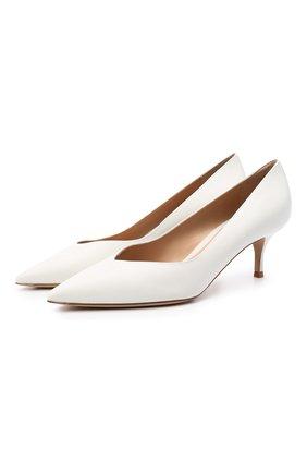 Женские кожаные туфли paris 55 GIANVITO ROSSI белого цвета, арт. G21265.55RIC.VITBIAN   Фото 1 (Подошва: Плоская; Материал внутренний: Натуральная кожа; Каблук тип: Kitten heel; Каблук высота: Низкий)