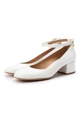 Женские кожаные туфли ribbon GIANVITO ROSSI белого цвета, арт. G22024.45RIC.VERBIAN | Фото 1