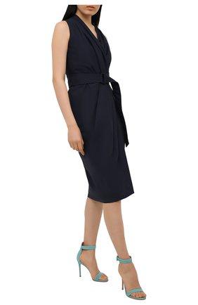 Женские кожаные босоножки portofino 105 GIANVITO ROSSI бирюзового цвета, арт. G61096.15RIC.CAMMALE | Фото 2
