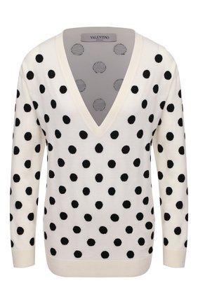 Женский шерстяной пуловер VALENTINO черно-белого цвета, арт. VB3KC20Z679 | Фото 1