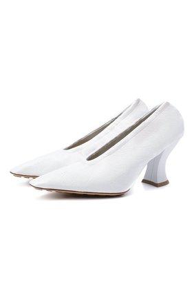 Женские кожаные туфли almond BOTTEGA VENETA белого цвета, арт. 651354/VBP10 | Фото 1