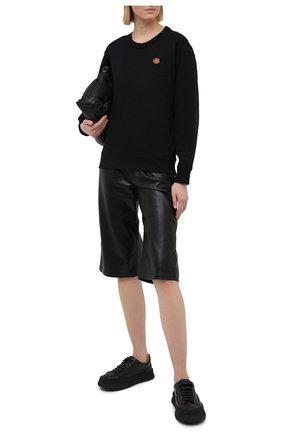Женский хлопковый свитшот KENZO черного цвета, арт. FB52SW8204ML | Фото 2 (Рукава: Длинные; Материал внешний: Хлопок; Длина (для топов): Стандартные; Стили: Кэжуэл; Женское Кросс-КТ: Свитшот-одежда)
