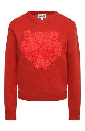 Женский пуловер из хлопка и шерсти KENZO красного цвета, арт. FB52PU5843XA | Фото 1 (Длина (для топов): Стандартные; Материал внешний: Шерсть, Хлопок; Рукава: Длинные; Женское Кросс-КТ: Пуловер-одежда; Стили: Кэжуэл)