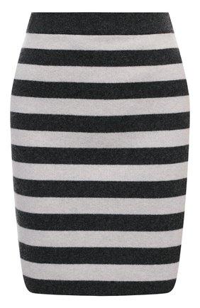 Женская шерстяная юбка KENZO черно-белого цвета, арт. FB52JU5403AE | Фото 1 (Стили: Кэжуэл; Длина Ж (юбки, платья, шорты): Мини; Материал внешний: Шерсть; Женское Кросс-КТ: Юбка-карандаш)